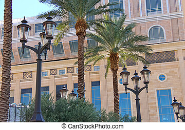 Palm trees and lantern on the streets of Las Vegas Nevada
