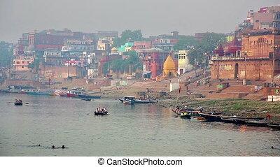Everyday scene in Varanasi - Everyday scene by Ganges River...