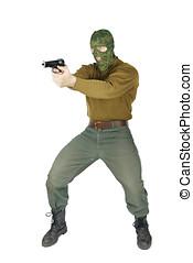 Shooter with a handgun