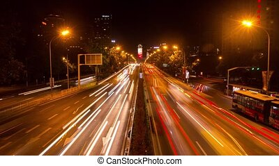 Night Highway traffic in Beijing