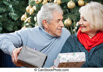Senior Couple With Presents In Christmas Store