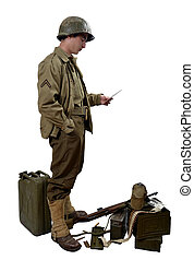 American soldier read a letter - young American soldierwith...