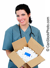 Mail Order Medicine - Pretty Nurse Holding A Box Of Medicine...