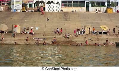 Everyday scene in Varanasi - Everyday scene by Ganges River...