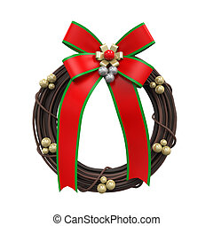 Christmas Wreath Decoration isolated on white background 3D...