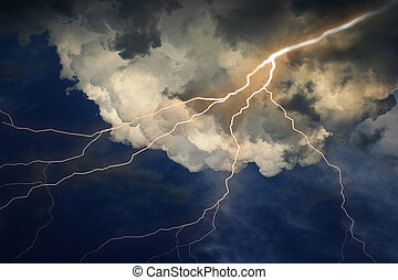 Lightning on clouds sky. Combine photo and raster...