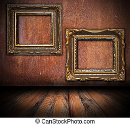 empty painting frames on rusted wall, interior architectural...