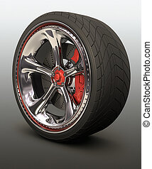 Exclusive Wheel - Chromed wheel with red details. Exclusive...