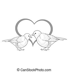 A monochrome sketch of a couple of birds with a heart....