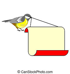 A cute bird titmouse with a big blank paper in its beak...