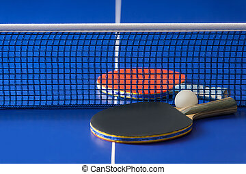 Table tennis rackets Top view of table tennis rackets and...