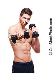 Fitness model - Portrait of an attractive very fit young man...