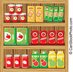 Supermarket. Shelfs with food. vector