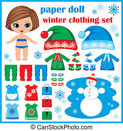 Paper doll with winter clothes set. vector