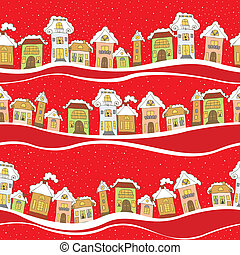 Seamless pattern with houses in winter time on red background