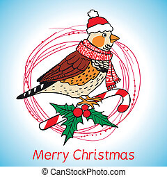 Christmas background with bird.