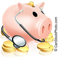 Medical Piggy Bank Concept - An illustration of a piggy bank...