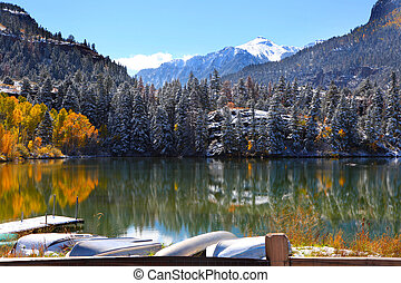 Scenic landscape near Ouray - Beautiful lake in the middle...