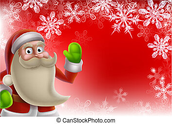 Santa Christmas Border Background - Cartoon Santa Christmas...
