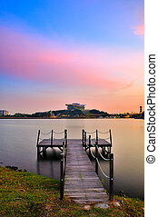 old jetty and modern buildings - Putrajaya International...
