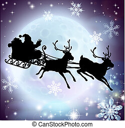 Santa moon sleigh silhouette - Santa flying in his sleigh...