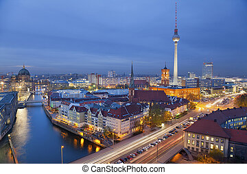 Berlin. - Aerial view of Berlin during twilight blue hour.