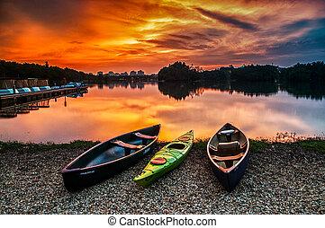 lakeside, muelle, canoa