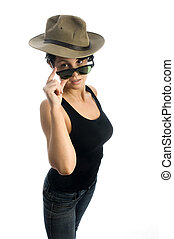 sexy young woman with sunglasses and hat