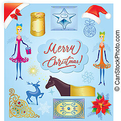 Christmas elements illustration set - Christmas elements...