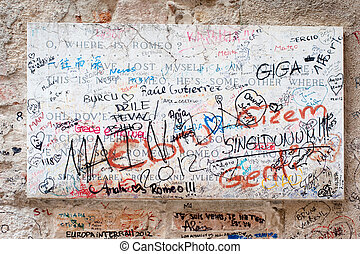 Fragment of famous Romeo home in Verona, Italy