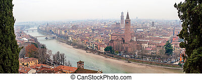 Panoramic view of Verona, Italy With Santa Anastasia Church...