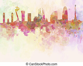 Barcelona skyline in watercolour background with clipping...