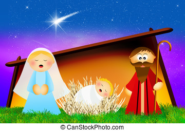 Nativity scene cartoon - Christmas Nativity scene