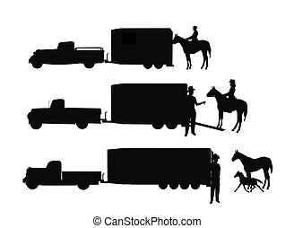 horse trailers - silhouettes of horse trailers