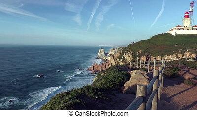 coastline at cabo da roca - cabo da roca,cape roca, historic...