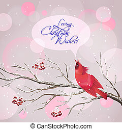 Christmas Vector Snowy Rowan Berries Bird Card - Vector...