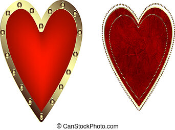 A set of decorative hearts