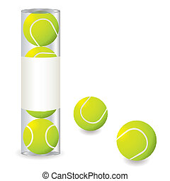 tennis stack - Stack of tennis balls in a plastic tube with...