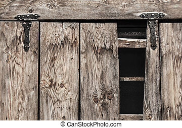 Antique Rustic Pine Wood Door With Wrought Iron Hinges -...