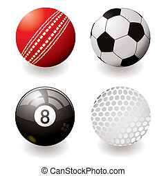 sports balls - Collection of four sports balls with shadow...