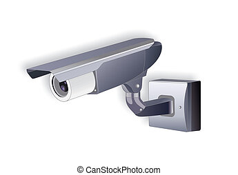 Security Camera - Stock Image - Isolated security camera -...