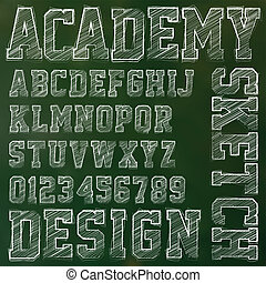 Abstract vector illustration of a sketched alphabet