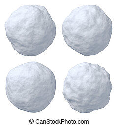 Snowballs set - Set of snowballs isolated on white...