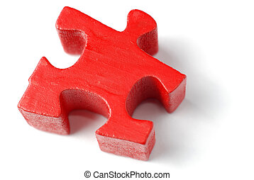 Single red puzzle piece isolated over white background