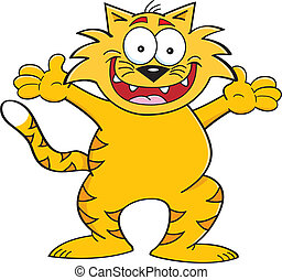 Cat with arms outstretched - Cartoon illustration of a cat...