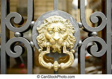 Old golden door handle
