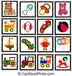 stamps with toys - colorful stamps with different toys...