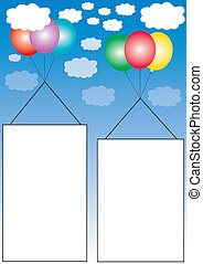 advertising frames and balloons - Three banners flying in...