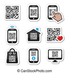 QR code on mobile cell phone icons