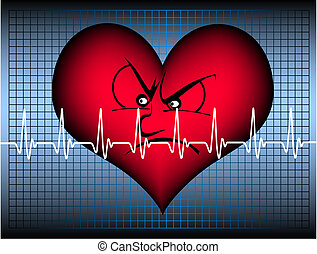 angry heart with cardiogram line